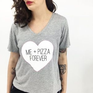 Gray Me + Pizza Forever V-Neck Tee Medium